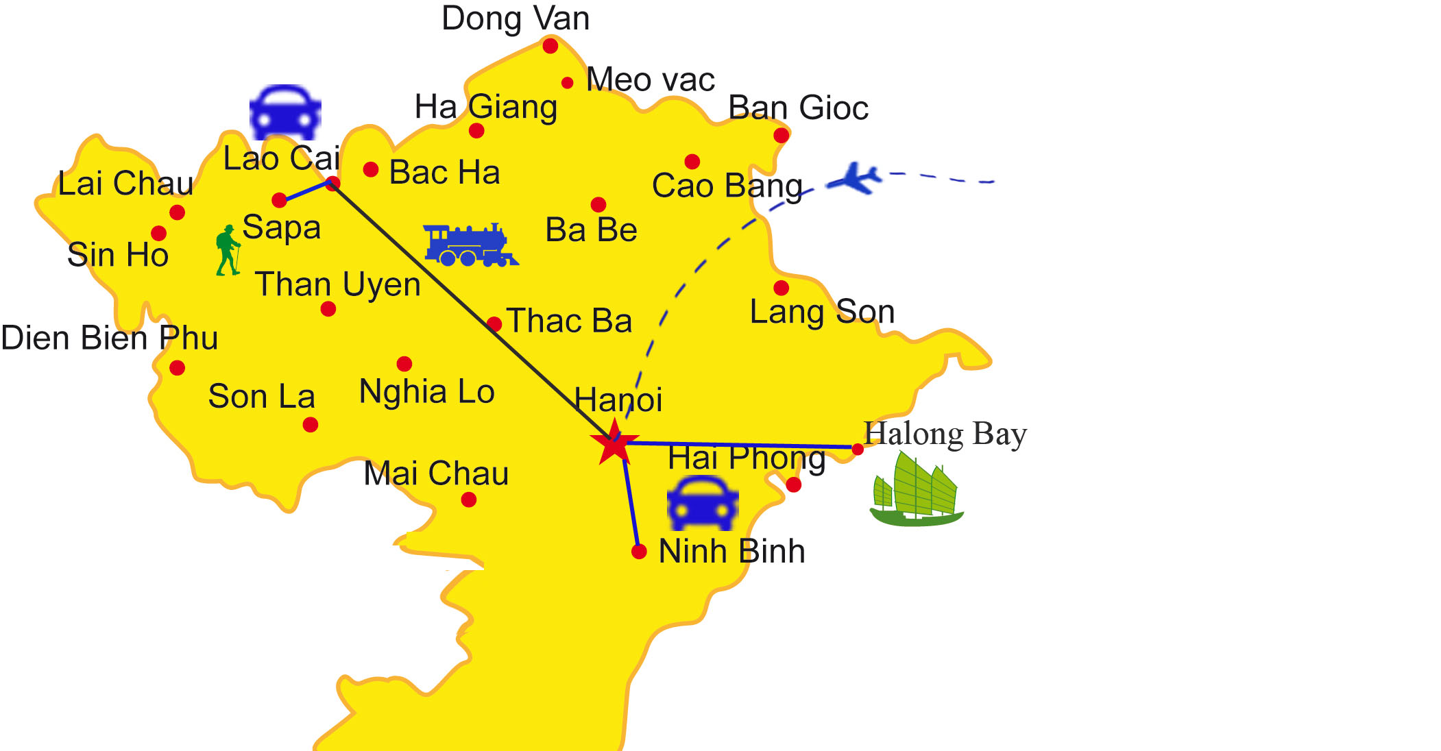 Northern Vietnam Map.How To Travel Northern Vietnam With Ease Itinerary Map Asia Paths
